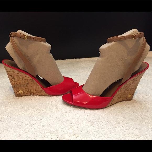 b04f551e981 Tory Burch  ASHTON  Red Leather Wedge 9. M 5aba6afe2ae12fe8e7e78f8c